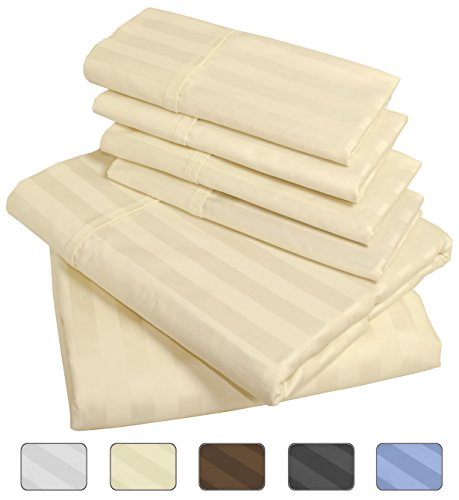 American Pillowcase 100% Egyptian Cotton Luxury Striped 540 Thread Count 6-Piece Sheet Set with Wrinkle Guard - King, Ivory (Egyptian Cotton Pillow)