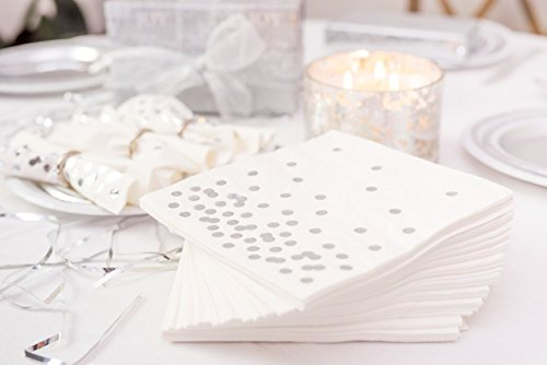 rative white napkins stamped with shiny silver foil dots; pack of 50 for your exquisitely prepared events (Event Accessories)