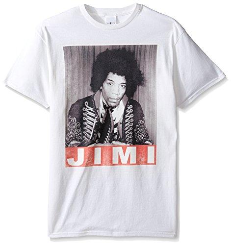 Jimi Hendrix Men's Portrait T-Shirt, White, X-Large Jimi Hendrix Rock T-shirts