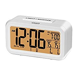 Digital Alarm Clock - Multi-function Indoor Thermometer Humidity Smart Night Light Snooze 7 Alarms with Large LCD Display (White)