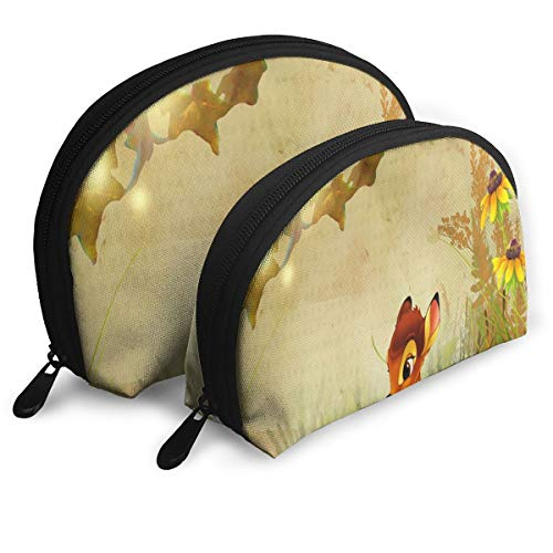 Makeup Bag Fall Bambi Autumn Flowers Portable Shell Pouch For Mother Halloween Gift 2 Piece