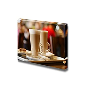 Closeup of Latte Coffee in Two Tall Glasses Ideal for Home and Restaurant Art - Canvas Art Wall Art - 24
