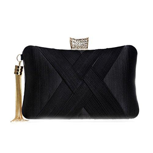 with Clutches Pillow Blue Bag Black for Evening Women Flada Handbag Tassel Wedding Satin Shape HqpgInv