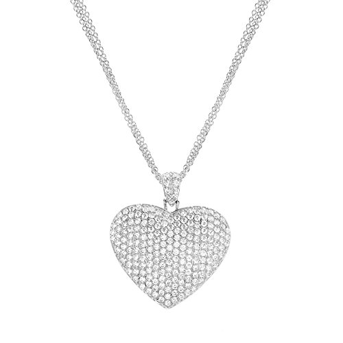 AUBREY LEE Cubic Zirconia Pave Heart Necklace for Women in Rhodium Plated - Drop Zirconia Cubic Heart Necklace