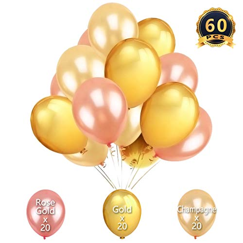 60PCS Rose Gold, Gold and Champagne Balloons 12inch
