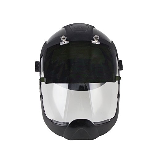 Sellstrom S32281 Clear Anti-Fog Polycarbonate Plasma/Flame Cutting, Grinding Face Shield with Shade 8 UV/IR Flip Front Window with Extended Chin Guard, Ratchet Headgear by Sellstrom (Image #3)