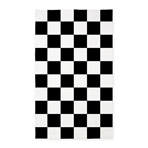 - CafePress Black and White Checkered Pattern 3'X5' Decorative Area Rug, Fabric Throw Rug