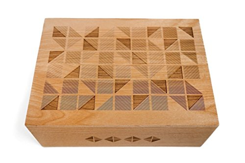 Geometric Square Tiles Laser Cut Wood Keepsake Box (Wedding Gift / Baby Shower Gift / 5 Year Anniversary / Decorative / Handmade) - Anniversary Keepsake Tile