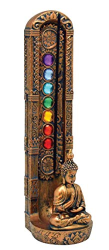 Fantasy Gifts 2837 Standing Buddha Chakra Stone Incense Burner, 9 1/2 inches, Multicolor