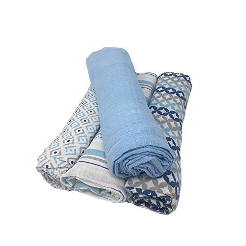 aden by aden + anais Swaddle Baby Blanket, 100% Cotton Muslin, 4 Pack, 44 X 44...