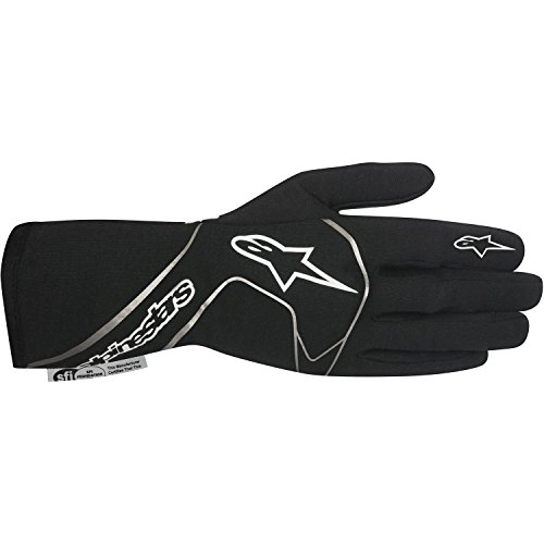 Alpinestars 3551117-12B-L Tech 1 Race Gloves, Black/White, Size L, SFI 3.3 Level 5/FIA 8856-2000