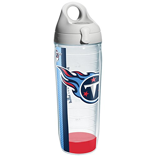 Tennessee Titans Water (Tervis NFL Tennessee Titans Wrap Individual Water Bottle with Gray Lid, 24 oz, Clear)