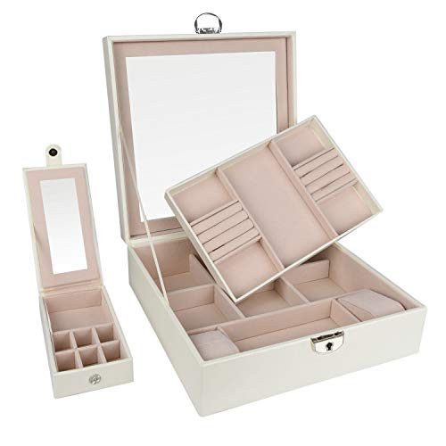 goldwheat Jewelry Box Organizer PU Leather Travel Jewelry Case Lockable Storage Box Gift for Women with Large Mirror and Trays Case(White) from goldwheat