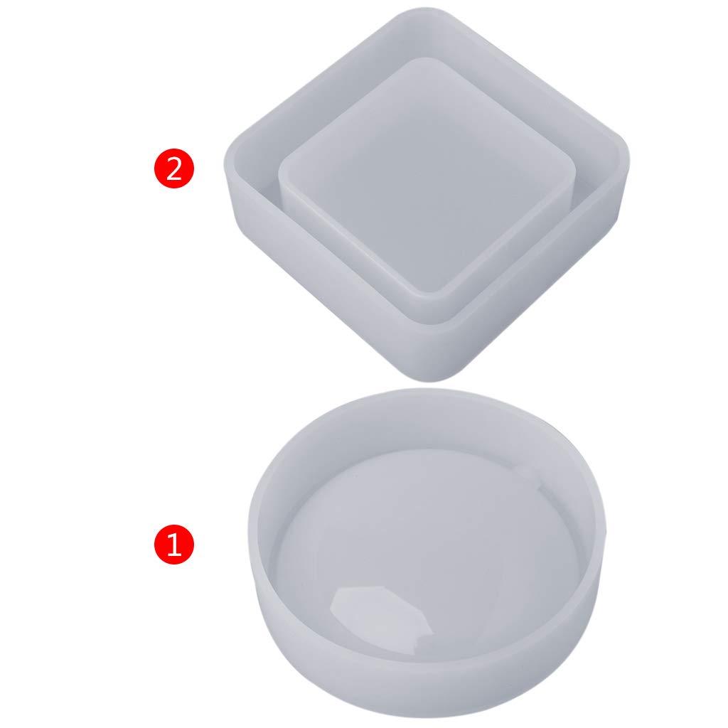 resina epoxi Yintiod artesan/ía espejo moldes cenicero redondo geom/étrico cristal Molde de silicona para manualidades productos dom/ésticos hechos a mano cuadrado