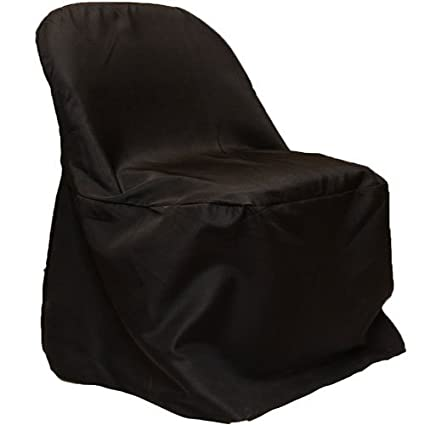 Fuzzy Fabric Folding Chair Cover Poly Black