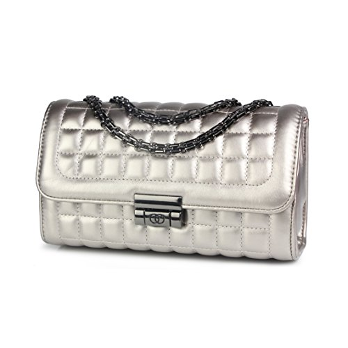 - Micom Womens Mini Quilted Flap-over Tote Crossbody Purse Shoulder Handbags with Gold Chain-straps (Silver)