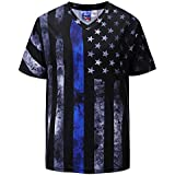 4th of July American Red Line Black Line Flag Men's T Shirt Patriotic Tops 1103 M