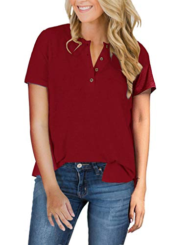 (Womens Henley Tops Plus Size Short Sleeve Summer Long Sleeve Shirts Fall V Neck Button Down Casual Tshirts Blouses (X-Large, A-Wine)