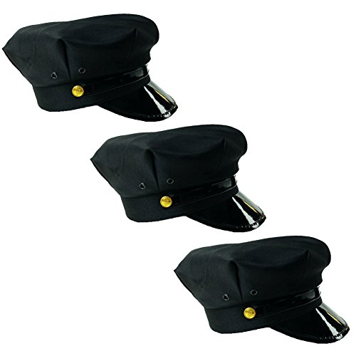 [Black Chauffeur Limo Driver Costume Hats (3 Pack)] (Funny Uniform Costumes)
