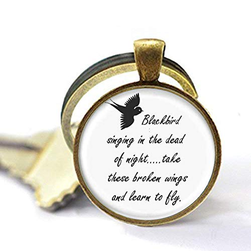 Blackbird Singing in The Dead of Night Key Chain, Song Lyrics Art Jewelry Charm Jewelry