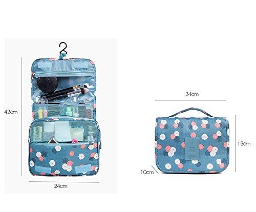 COIN Kosmetiktasche Make Up Tasche Hanging Necessaire Faltbare mit Kosmetik und Zahnbürste Reisetasche Toiletbag für Frauen Herren Mädchen Dunkelblau/ Rot /Rosa/Blau Dunkelblau DKosDbODCd