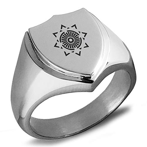 Tioneer Stainless Steel Light Magic Rune Shield Biker Style Polished Ring, Size 11