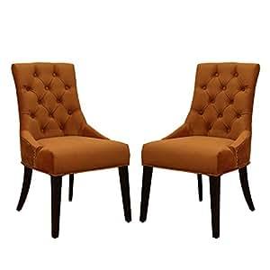 Joveco European Style Renaissance-Inspired Design Accent Side Chair, Set of 2 (Copper Velvet)