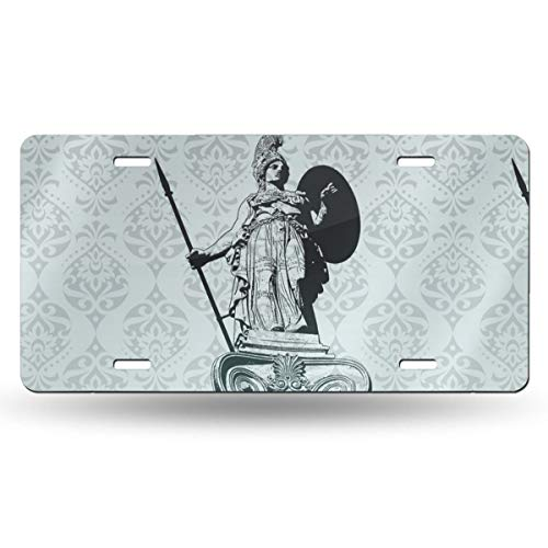 NGHFJSUY Ancient Greece Statue of Athena License Plate Decorative Metal Card Personality 6