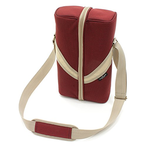 -[ Greenfield Collection Deluxe Mulberry Red Wine Cooler Bag for Two People  ]-