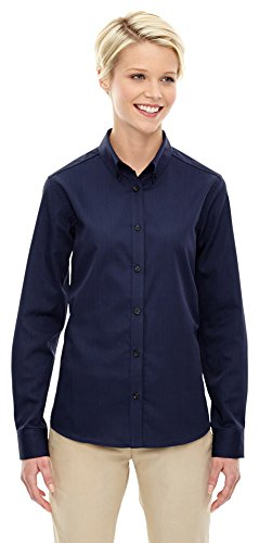 North End Ladies Establish Dobby Stripe Shirt, Medium, CLASSIC NAVY 849 (Stripe Dobby Classic Shirt)