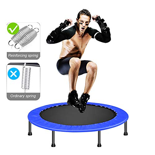 DlandHome 38 Inch Trampoline Indoor Exercise Fitness Mini Trampoline for Kids Adults Foldable Rebounder Trampoline with Safety Pad for Home Office (Best Mini Trampoline Reviews)