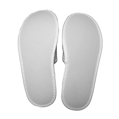 Waffle Open Toe Adult Slippers Cloth Spa Hotel Unisex Slippers for Women and Men Wholesale 100 Pcs White by TowelRobes (Image #2)