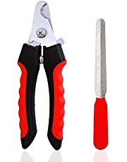 Dog Nail Clippers, Jiasoval Pet Nail Clipper with Nail File, Professional Nails Trimmer for Large, Medium and Small Dogs & Cats, Stainless Steel Pet Grooming Kit for Animals (Red)