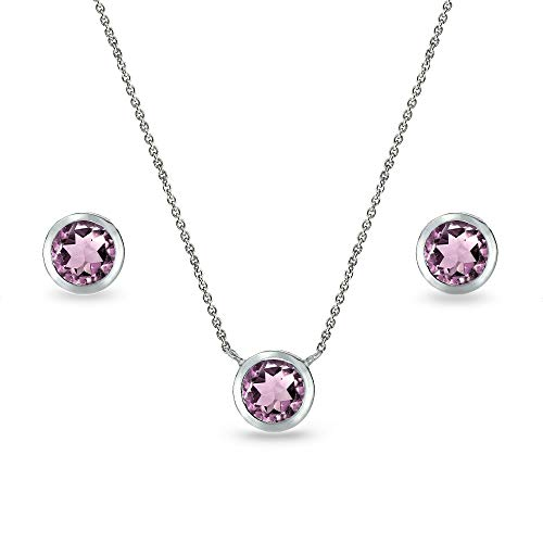 Sterling Silver Simulated Alexandrite 5mm Round Bezel-Set Solitaire Small Dainty Choker Necklace and Stud Earrings Set for Women