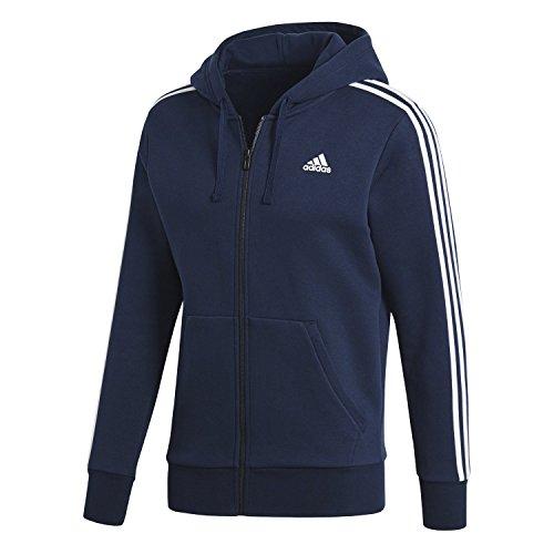 adidas Men's Essentials 3-Stripe Full Zip Fleece Hoodie, Collegiate Navy/White, X-Large -