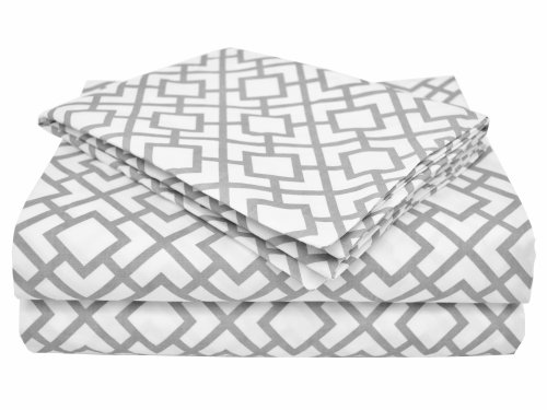 American Baby Company 100% Natural Cotton Percale Toddler Bedding Sheet Set, Gray Lattice, 3 Piece, Soft Breathable, for Boys and Girls