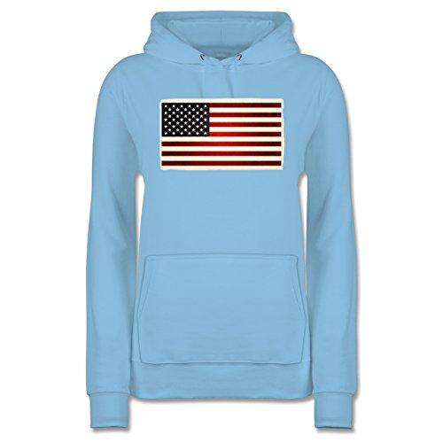 Shirtracer Kontinente - Flagge USA - Damen Hoodie Hellblau