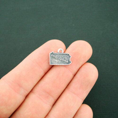 4 Pennsylvania State Map Charms Antique Silver Tone 2 Sided - SC6348 DIY Jewelry Making Supply for Charm Pendant Bracelet by Charm Crazy ()