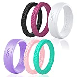 Rinfit Silicone Wedding Rings for Women 6 Ring Pack - Unique Set of Thin and Stackable Wedding Bands for Women. Designed, Soft Silicone Rubber.(Size 6)