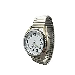 Atomic Talking Watch for The Blind with Extra Spare Battery and Microfiber Cleaning Cloth (Stainless Steel Stretch Central Standard Time)