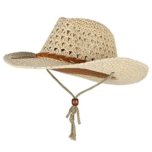 Western Cowboy Style Summer Hats for Women Men Wide Brim Sun Hat Handmade Weaved Straw Hat Beach Sun Cap Fisherman Caps Beige ()