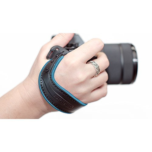 (Spider Holster SpiderLight Wrist Camera Strap (Light Blue Trim) For DSLR & Mirrorless Cameras w/ 2 ivation Replacement Quick Release Plates for the Manfrotto RC2 Rapid Connect Adapter)