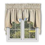 valances for bay windows Hampton Bay Lined Duchess Swags Valance Pair 100-Inch-by-30-Inch, Flax