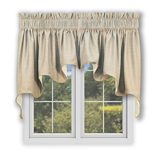 Hampton Bay Lined Duchess Swags Valance Pair 100-Inch-by-30-Inch, Flax