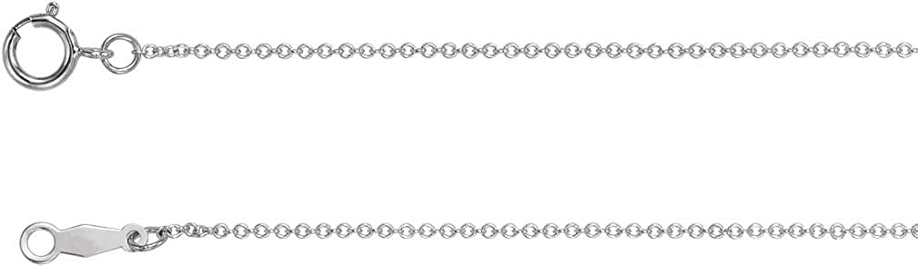 Rhodium-Plated 14k White Gold 1mm Solid Cable Chain Necklace
