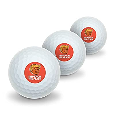 Impeach the Peach Donald Trump Funny Novelty Golf Balls 3 Pack
