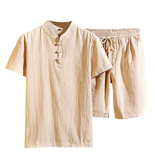 (VEZAD Men Shorts Suit Summer Fashion Casual Cotton Linen Short Sleeve Tracksuit)