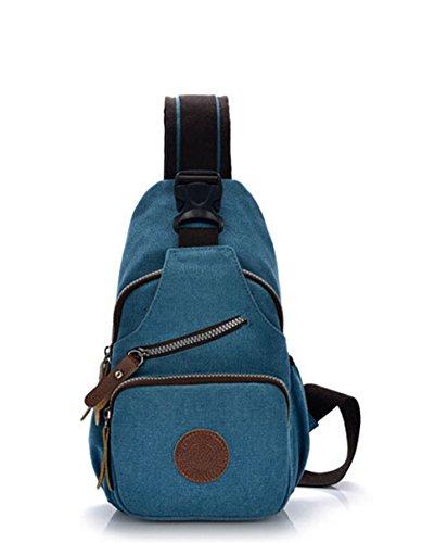 Fancier Unisex Sport Canvas Chest Pack Shoulder Bag Blue