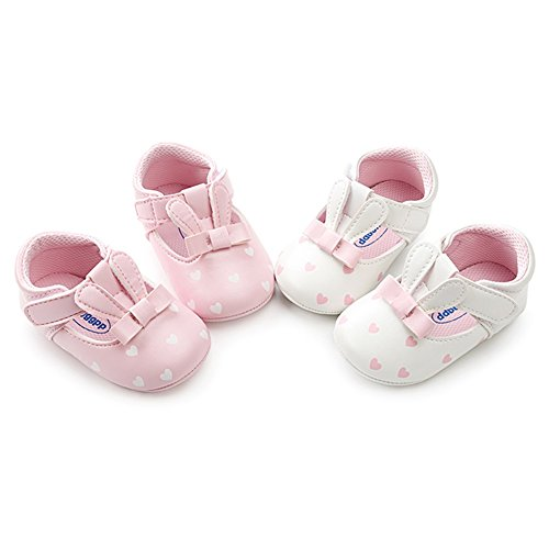 (BOBORA Baby Girl Shoes, Cute Rabbit Sweetheart Princess Mary Jane Shoes Soft Sole Non-Slip First Walkers Shoes (6-12M, Pink Rabbit))