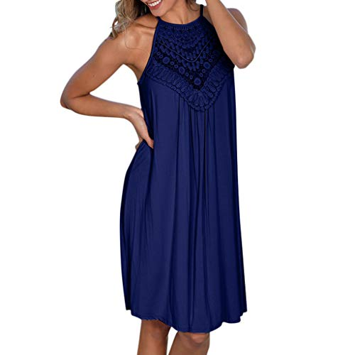 (Clearance! Swiusd Women's Retro Lace Floral Embroidery Solid Color Mini Dresses Vintage Spaghetti Halter Boho Beach Party Dresses (Navy, L-US 8))
